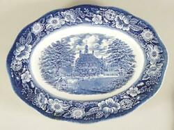 12 Platter / Tray - Liberty Blue Staffordshire - Governors House Williamsburg