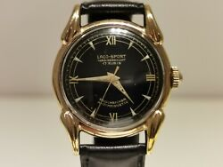 Vintage Rare Collectible Ww2 Era Gold Plated Germany Menand039s Watch Laco Sport