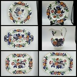 6 Pieces Antique Job Ridgway C1814 Strong Flowers 993 Ironstone Polychrome