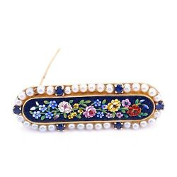 Mosaic Glass Inlay Pearls And Sapphires 14k Yellow Gold Pin