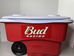 Bud Racing Red Rubbermaid Wheeled Camping Ice Cold Cooler Chest