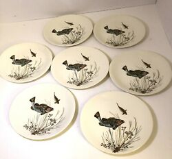 Set Of 7 Johnson Brothers China Fish 2 Oval Dinner Plate 10 3/8