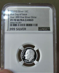 2019 S Silver Roosevelt 10c Ngc- Proof 70 Ultra Cameo First Day Of Issue