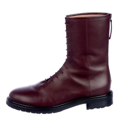 Legres Burgundy Leather Womenand039s Combat Boots Size 41 Us 11