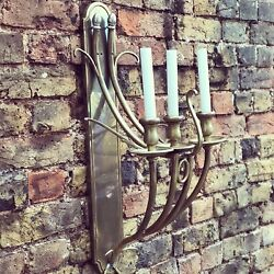 Pair Of Brass Wall Light Sconces Large And Impressive