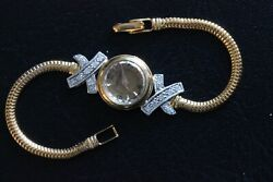 Vintage Jaeger Lecoultre Miniature Backwind 18k Yellow Gold Diamond Ladyand039s Watch