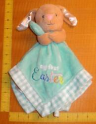Baby Starters My First Easter Bunny Rabbit Security Blanket Lovey Satin Plaid