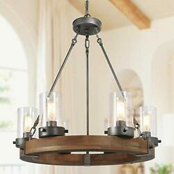 Farmhouse Chandelier Round Handmade Wood 6 Light Fixture With Seeded Glass