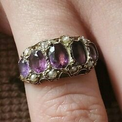 Early 1800s Sim. Amethyst Paste Seed Pearl Ring Gold Antique Georgian/victorian