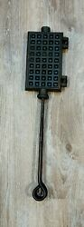 Primitive Cast And Hand Wrought Iron Waffle Maker Fireplace Hearth Skillet No.4