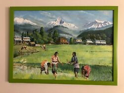 Original Oil Painting Landscape Of Rice Farming In The Himalayas Scene Signed