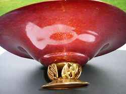 L.f Grammes And Sons Allentown,pa Red Enameled Brass Candy Dish Art Deco