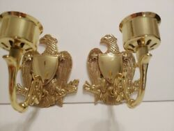 Vintage Ornate Brass Usa Set Of Eagles Wall Candle Holder Scones Pair Vgc