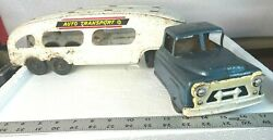 Vintage Marx Auto Transport Truck And Trailer - Pressed Steel Toy