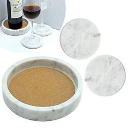 Wine Bottle Coaster White With Marble Tray Set Of 2 Cup Coasters For Tablemar...