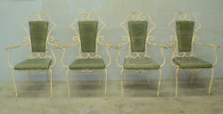 Antique Vintage Art Deco French Iron And Rattan Bistro Garden Chairs- Set Of 4