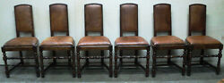 Antique French Country Farm Leather Dining Chairs - Set Of 6