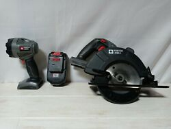 Porter Cable Bundle Cordless 18 Volt Circular Saw Lithium Battery And Lamp