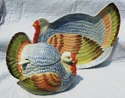 Fitz And Floyd Thanksgiving Turkey Time Platter And Tureen Matching Perfect 1984