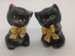 Vintage Py Japan Black Cats With Bows Salt And Pepper Shakers