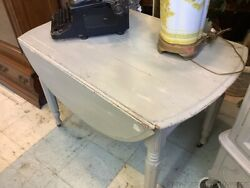Antique Drop Leaf Dining Table Painted Gray White Distressed Side Table