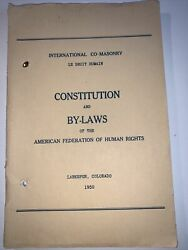 International Co-masonry Constitution And By-laws Pbk 1950