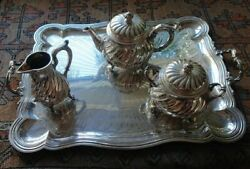Christofle Tea Set Silverplate France With Tray