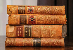 Beautiful Collection Of Antique Leather Spine Books