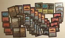 Mtg 36 Beta 1 Alpha Island Swamp Forest Mountain Signed And Altered Rush See Pic