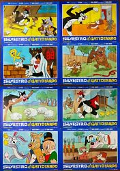 8 Posters Italian Sylvester The Cat Tweety Bird And 18 7/8x27 3/16in