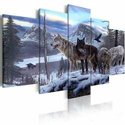 Arthome520 Blue Animal Wolf Pictures Canvas Print Paintings Ready To Hang For...