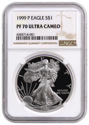1999-p Proof American Silver Eagle One Dollar Coin Ngc Pf70 Ultra Cameo