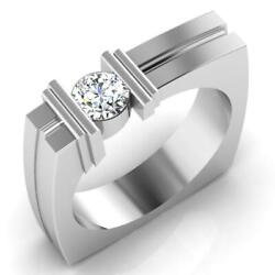 0.47 Ct Genuine Diamond Engagement Men Band 14k Solid White Gold Ring Size 12