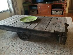 Antique Vintage Lineberry Inustrial Railroad Factory Cart Unique Coffee Table