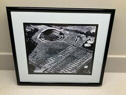 Custom Matted And Framed Black And White Aerial Picture Of Milwaukee County Stadium