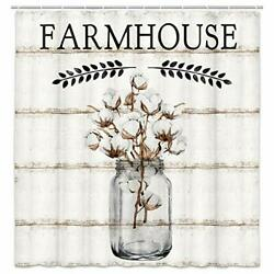 Farmhouse Shower Curtain Farm Cotton Flower In Jar With Peace Branch On Count...
