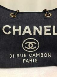Deauville Mm Denim Canvas Leather Shoulder Tote Bag Chain Gold Metal Used