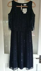 BNWT TOGETHER Hand Beaded Evening Dress Size 12 Navy Blue Cold Shoulder Heavy GBP 39.99