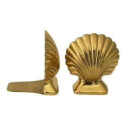 Solid Brass Scallop Shell Bookends By Baldwin Henry Ford Museum Set Of 2 Vintage