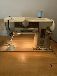 Singer Sewing Machine 401a And Wood Cabinet With Drawers And Sewing Feet Lot