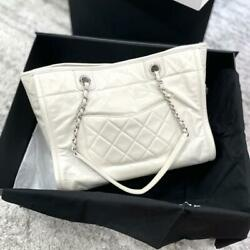 Deauville Chain Shoulder Tote Bag White Calfskin Silver Metal Used