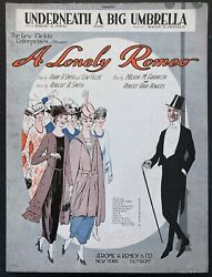 1919 A Lonely Romeo Theater Sheet Music Underneath A Big Umbrella