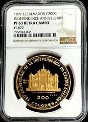 1971 Gold El Salvador 200 Colones Independence Anniversary Coin Ngc Proof 63 Uc