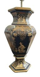 19th Century Chinoiserie Tea Tin Lamp Black, Gold, Red Accents