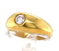 Original 1970and039s Retro Diamond Domed Solitaire Bezel Set Menand039s Pinky Ring 18k