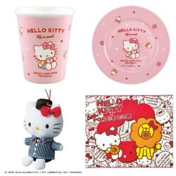 Hello Kitty 17cm Plate 320ml Plastic Cup Blanket Plush Set Collection F/s New
