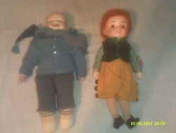 2 Vintage Porcelain Dolls Goebel It's A Small Wlorld Musical And Laughing Smiling
