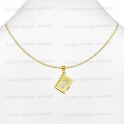 Real 14k White Or Yellow Gold Bible Book In Spanish Pendant Valentino Free Chain