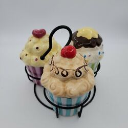 American Atelier Confections Cupcake Trinket Boxes Set Of 3 With Metal Carrier