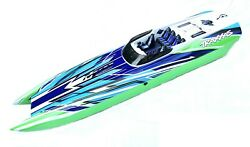 M41 Widebody Boat Hull And Hatch Catamaran Dcb Green Blue Painted Traxxas 57046-4